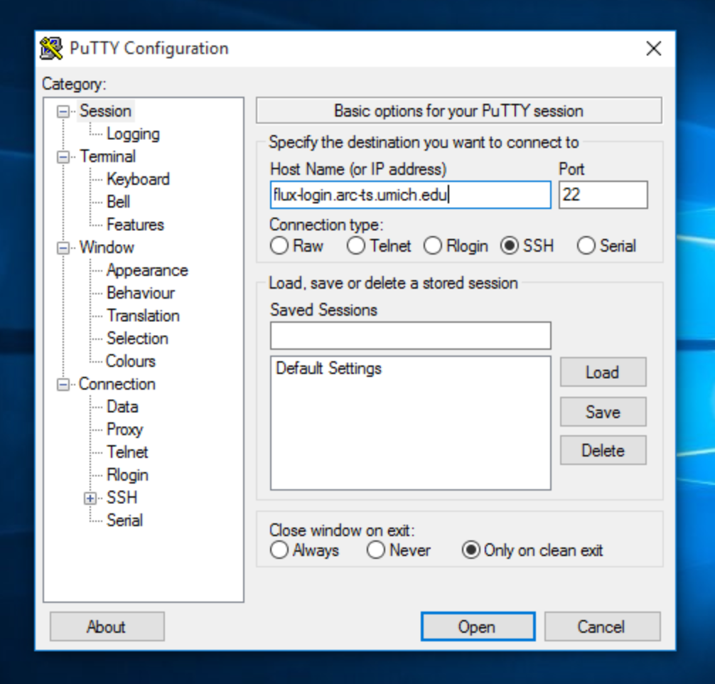 PuTTY Configuation window